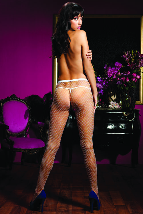 White Sexy Diamond Fishnet Pantyhose