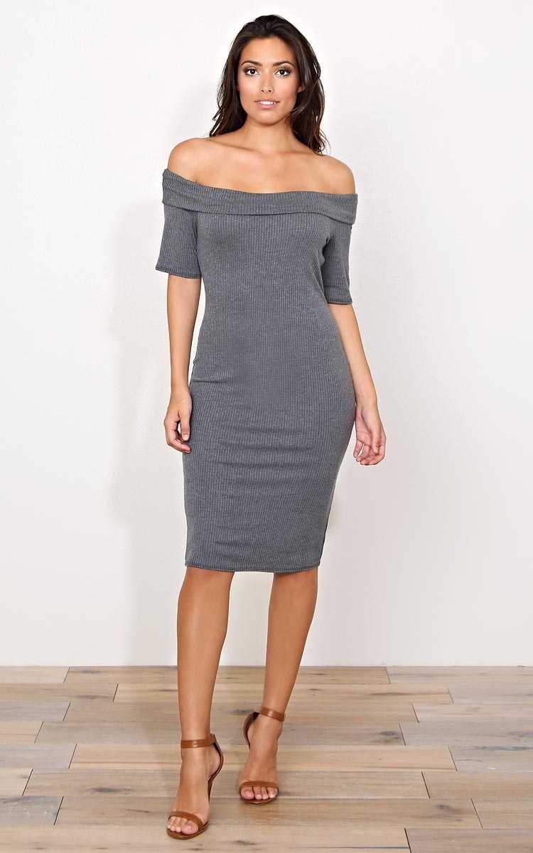 Betty Off The Shoulder Knit Dress - - Charcoal in Size by Styles For Less