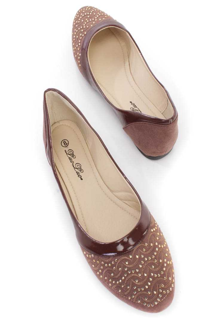 Brown Embroidered Rhinestone Flats Faux Suede