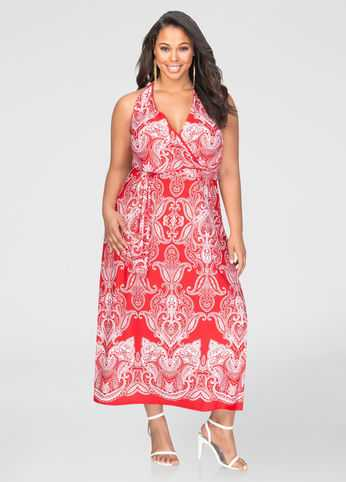 Bandana Print Halter Maxi Dress