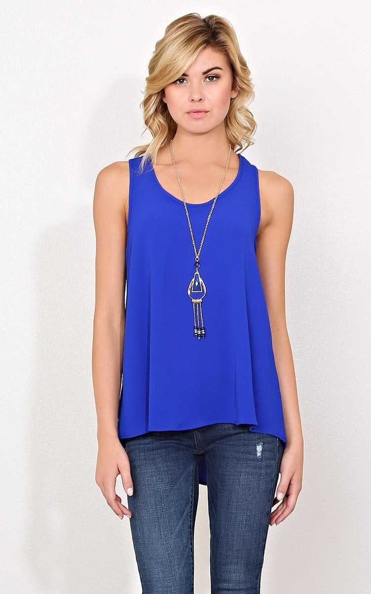 Rosemary Tunic Necklace Top - SML - Cobalt in Size Small by Styles For Less