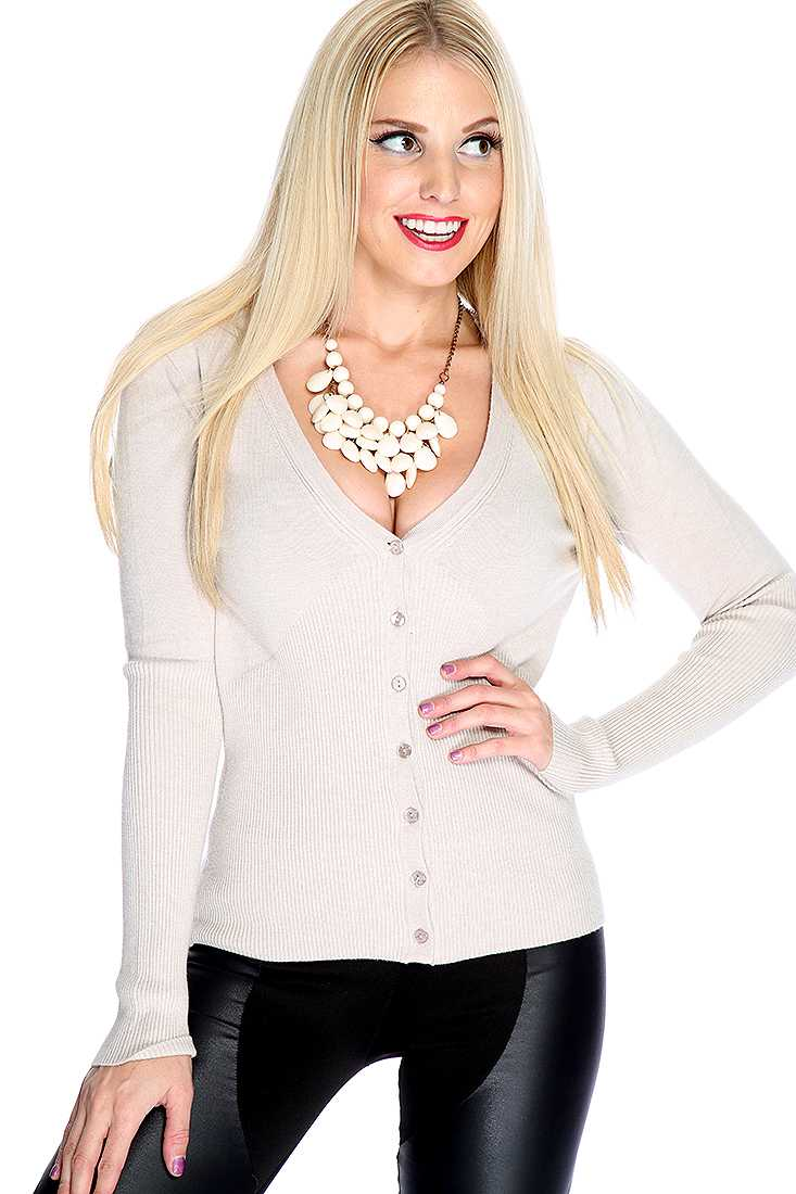 Taupe V-neck Button Up Cardigan