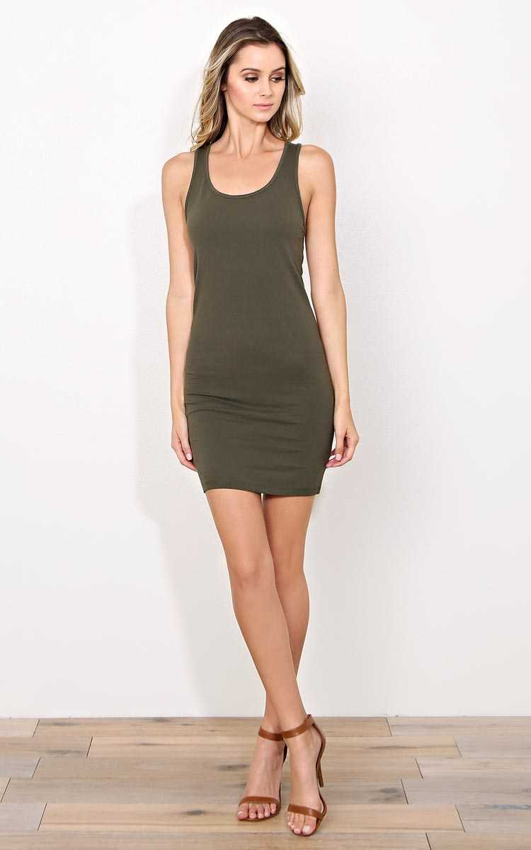 Olive Racerback Knit Tank Dress - - Olive/Drab in Size by Styles For Less