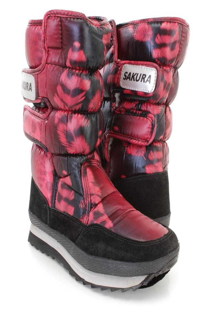 Red Quilted Feather Print Traction Sole Snow Boots Nylon
