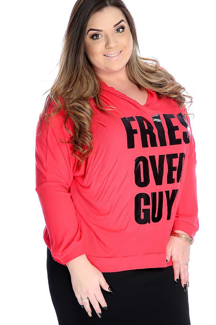 Stylish Watermelon Plus Size Graphic Print Long Sleeve Top