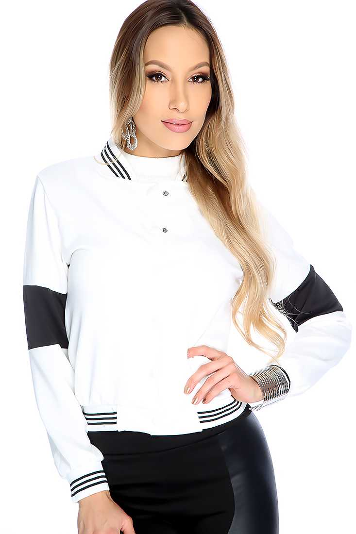 Stylish White Long Sleeve Button Up Two Tone Jacket