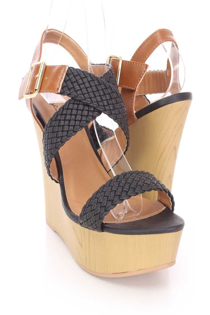 Black Braided Strappy Platform Wedges Faux Leather