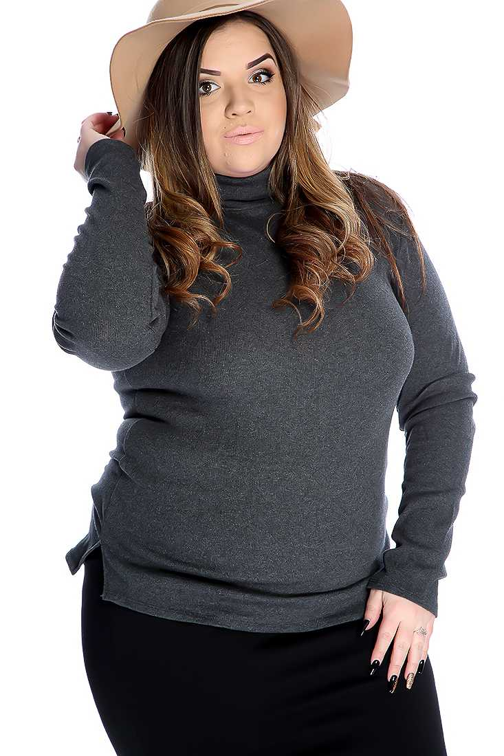 Charcoal Ribbed Turtle Neck Casual Plus Size Top