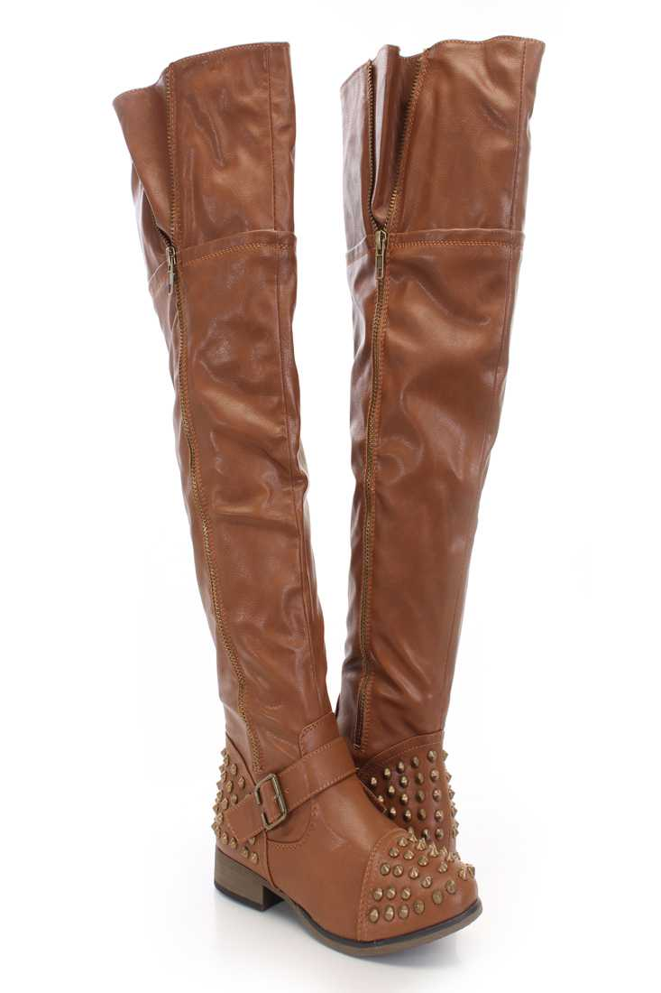Tan Faux Leather Studded Thigh High Boots