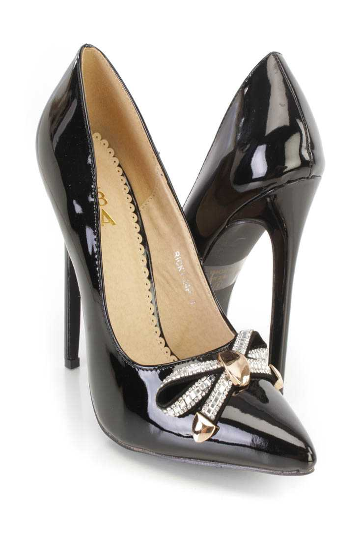 Black Rhinestone Bow Tie Single Sole Pump Heels Patent