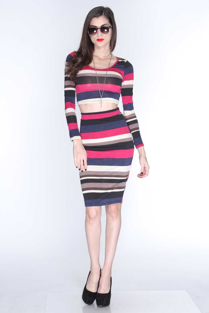 Magenta Stripe Print Print 2Pc. Outfit