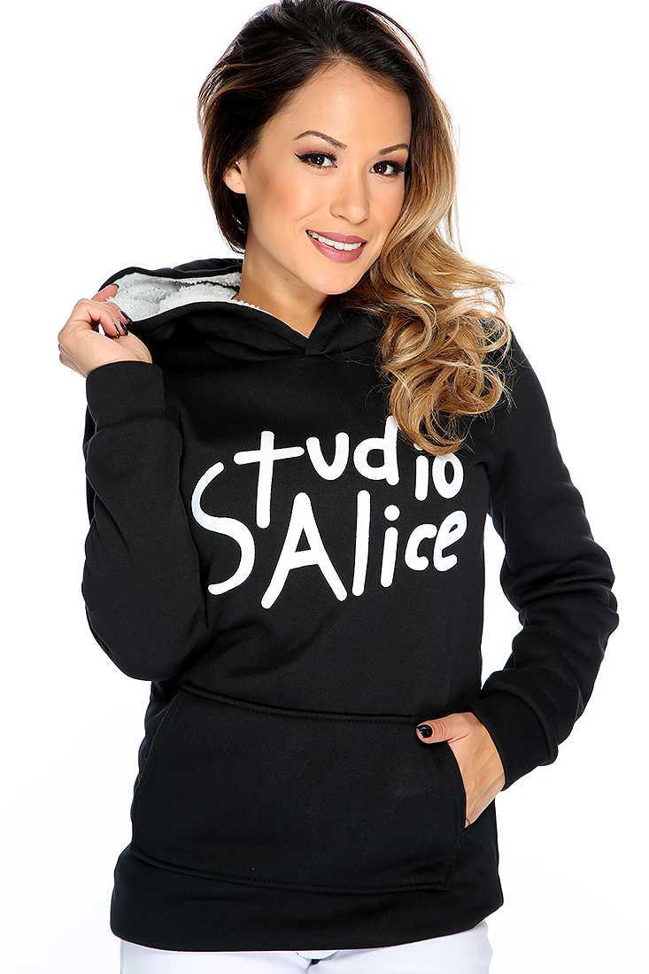 Black Graphic Design Hoodie Sweater