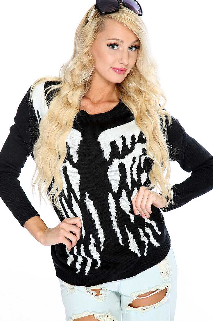 Black White Knitted Wing Sweater Top