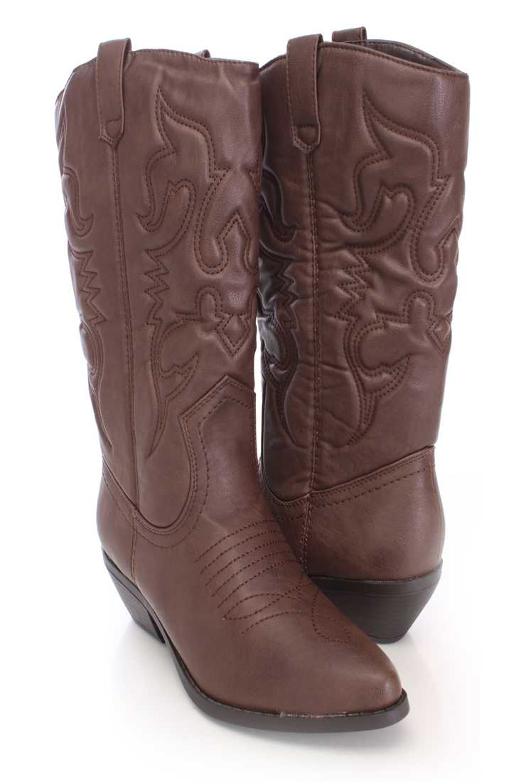 Dark Tan Stitched Design Cowboy Boots Faux Leather