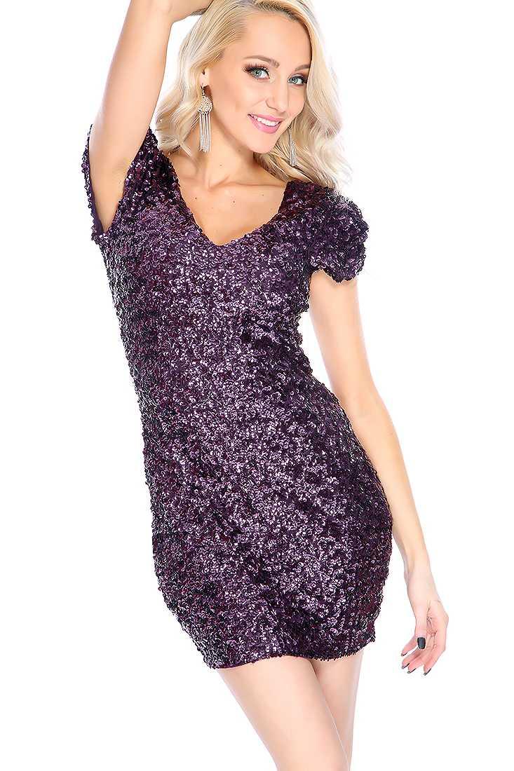 Sexy Plum Sequin Short Sleeve Party Dress