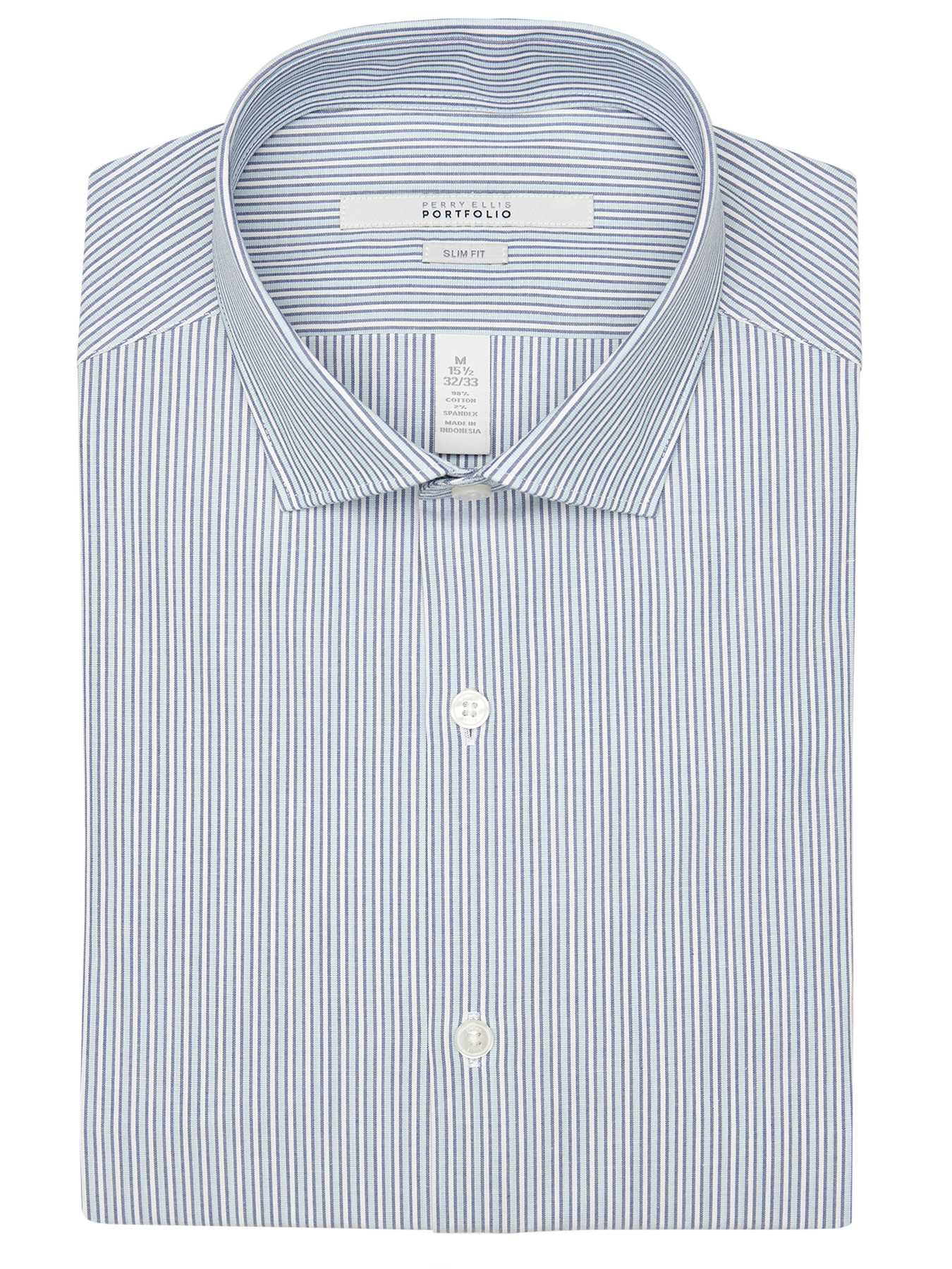 Perry Ellis Slim Fit Tonal Stripe Dress Shirt