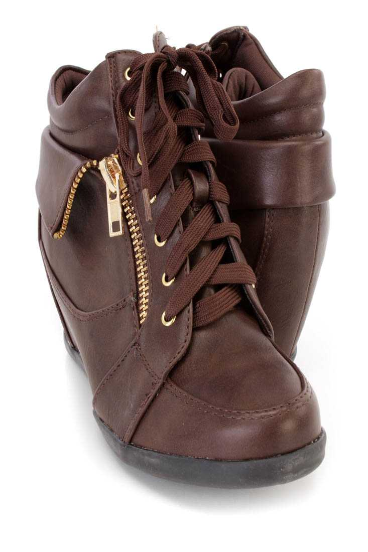 Brown Lace Up Zipper Detail Sneaker Wedges Faux Leather