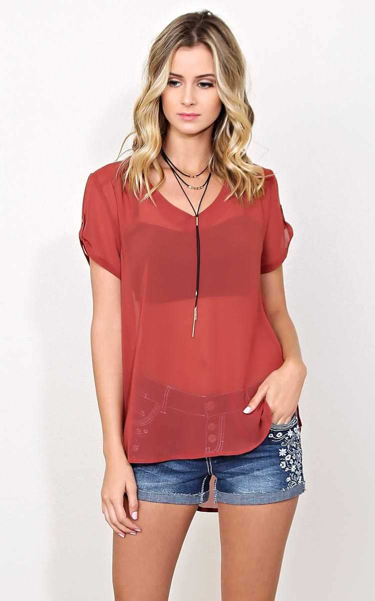 Jenna Woven Top - LGE - MARSALA in Size Large by Styles For Less