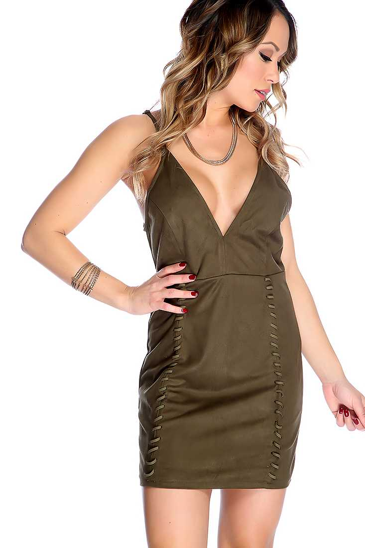 Sexy Olive Deep V-neck Woven Short Party Dress