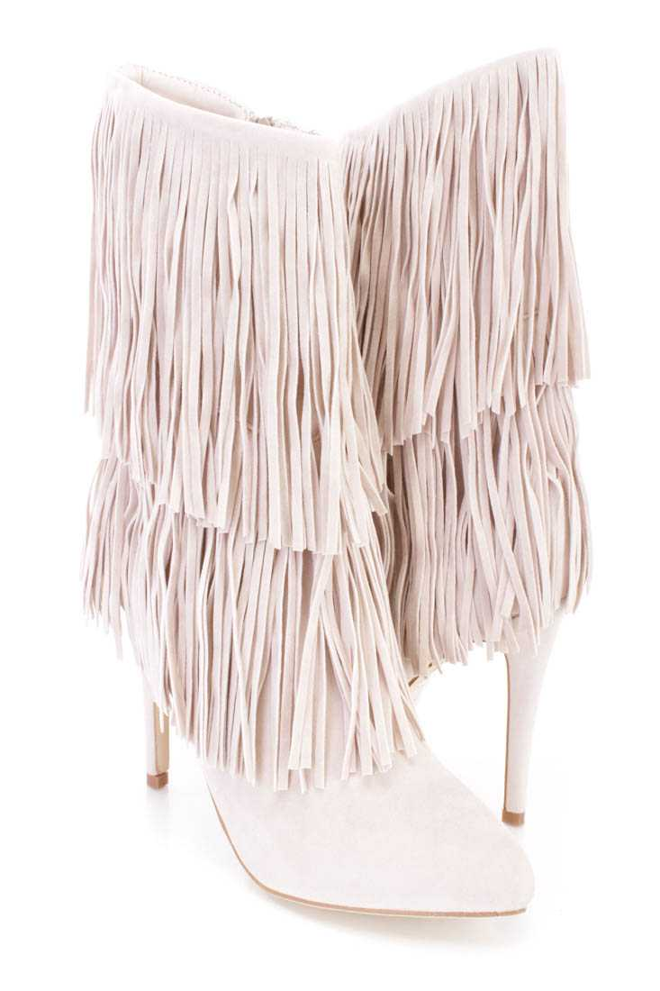 Sand Fringe Tiered Ankle Booties Faux Suede