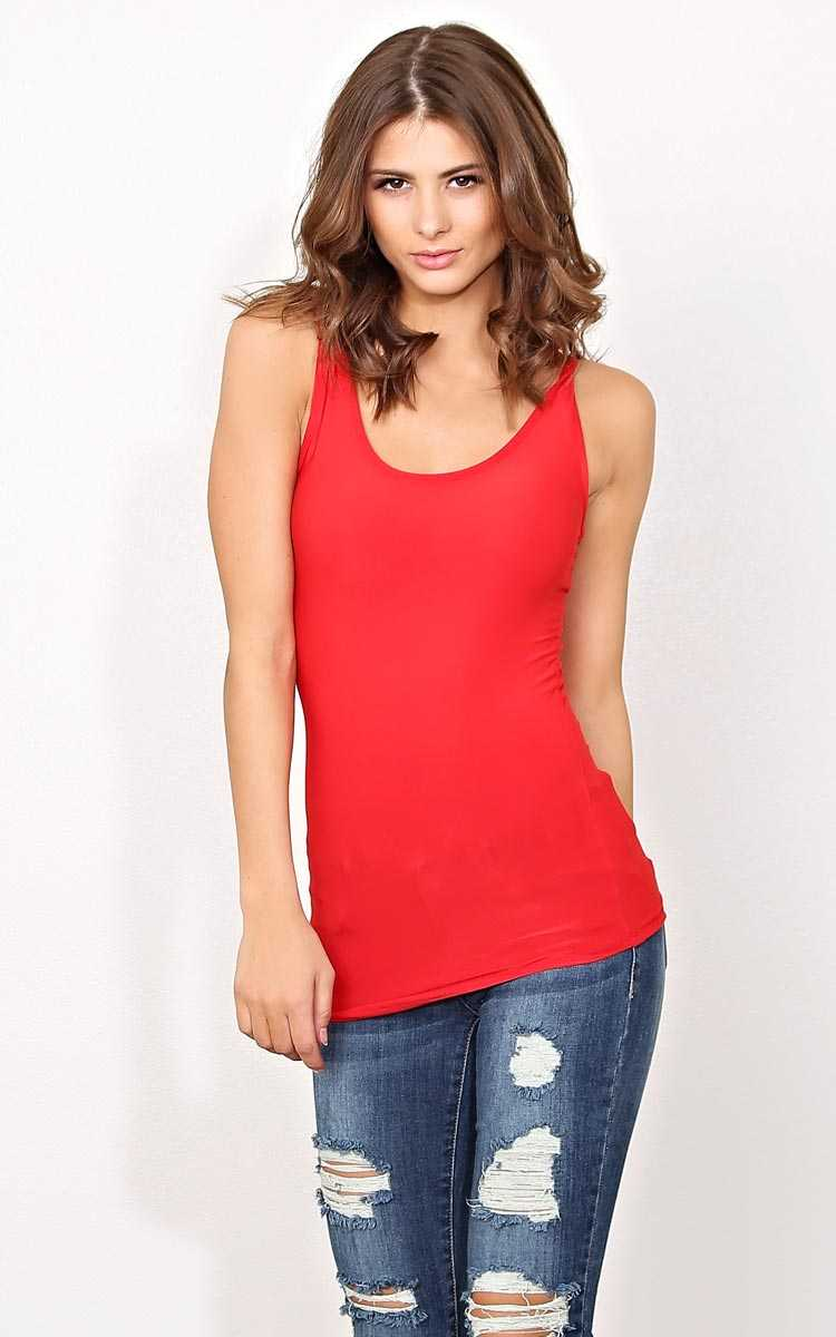 Red Laid Back Knit Tank - - Red in Size by Styles For Less