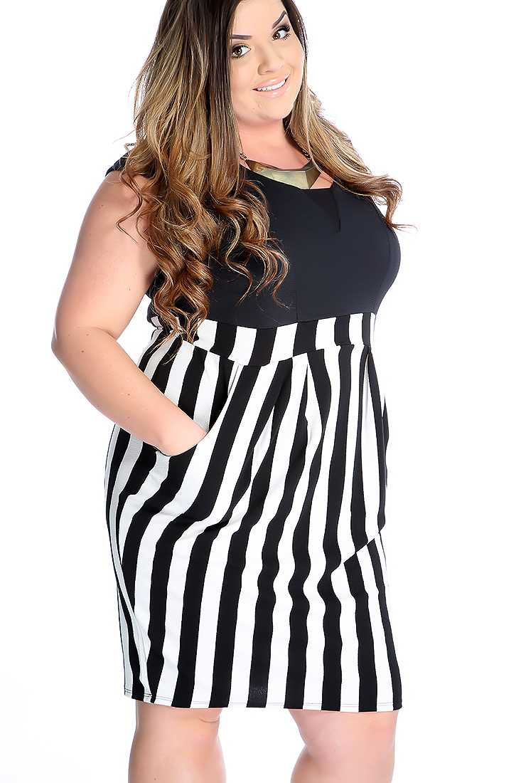Sexy Black Stripe Sleeveless Plus Size Party Dress