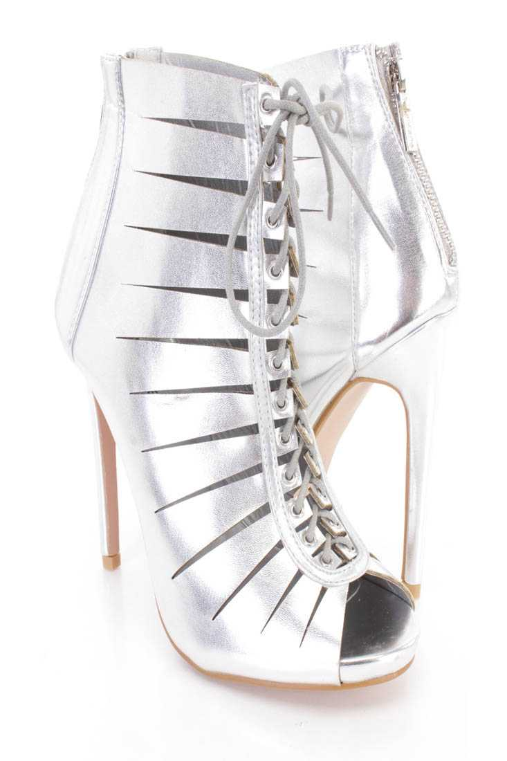 Silver Lace Up Razor Cuts High Heel Booties Faux Leather