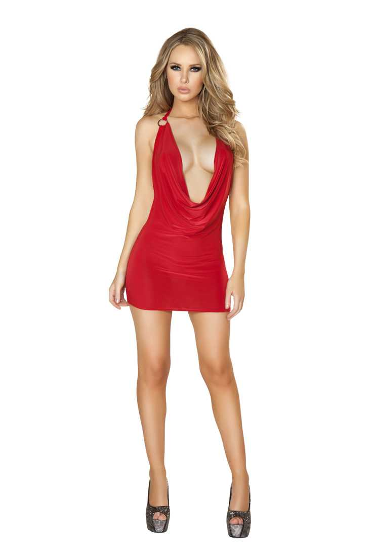 Red Cowl Neck O-Ring Detail Mini Dress