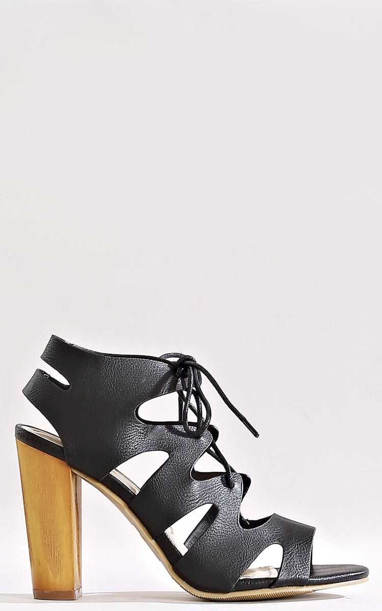 Jasmine Leather Lace Up Heels - Black in Size by Styles For Less