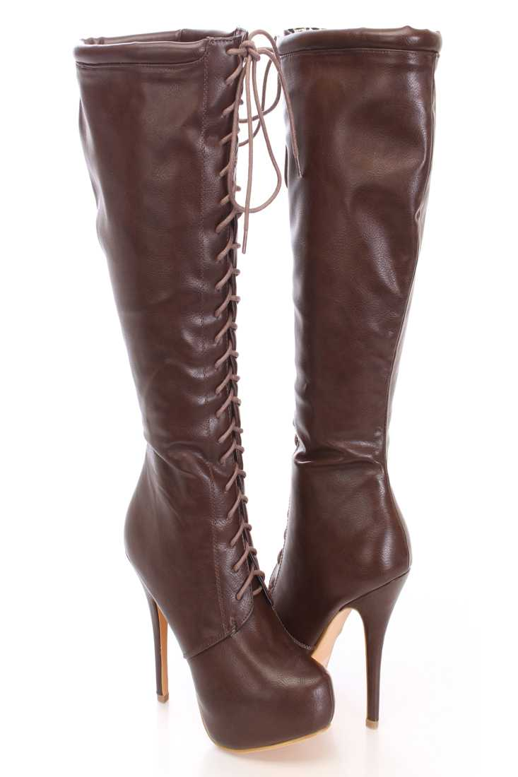 Brown Knee High Lace Up Boots Faux Leather