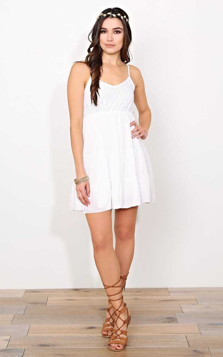 Celeste Woven Babydoll Dress - SML - Ivory Combo in Size Small by Styles For Less