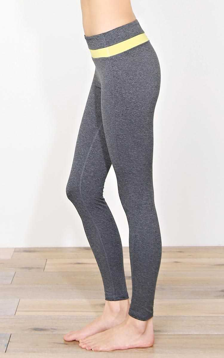 Triathlon Knit Workout Leggings - MED - Grey Combo in Size Medium by Styles For Less