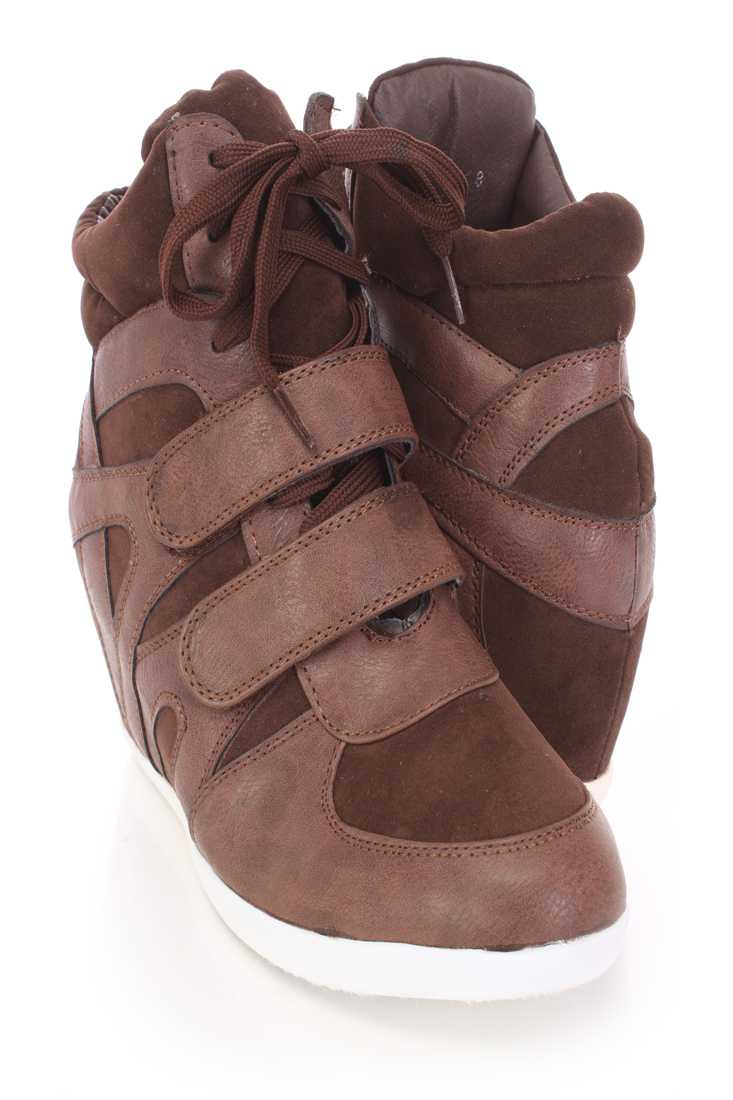 Brown Lace Up Sneaker Wedges Faux Leather Suede