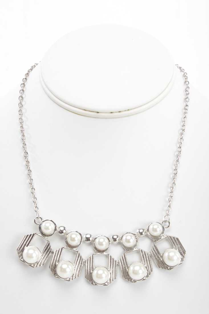 Silver High Polish Faux Pearl Cut Out Necklace