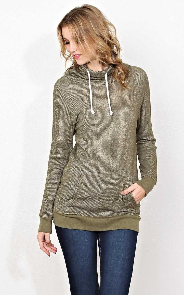 Cowl Neck Tery Pullover - SML - Olive/Drab in Size Small by Styles For Less