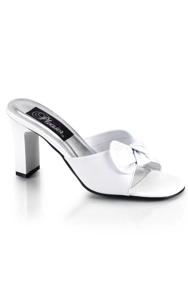 White Slip On Bow Tie Square Heel Heel Faux Leather