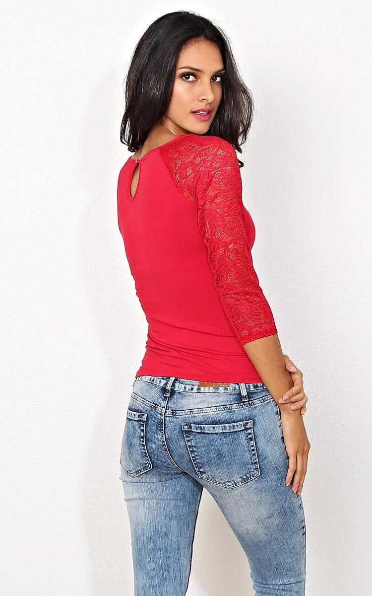 Red Lace Sleeved Knit Raglan - - Red in Size by Styles For Less