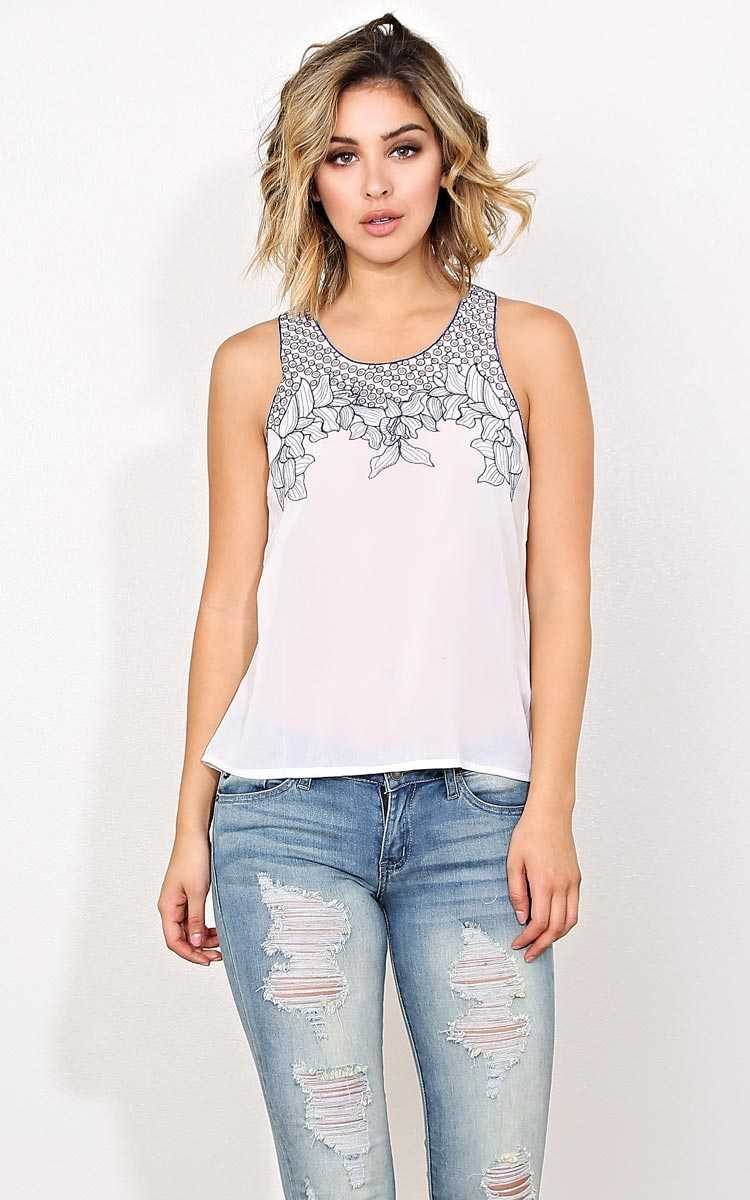 Barcelona Embroidered Woven Top - - White in Size by Styles For Less