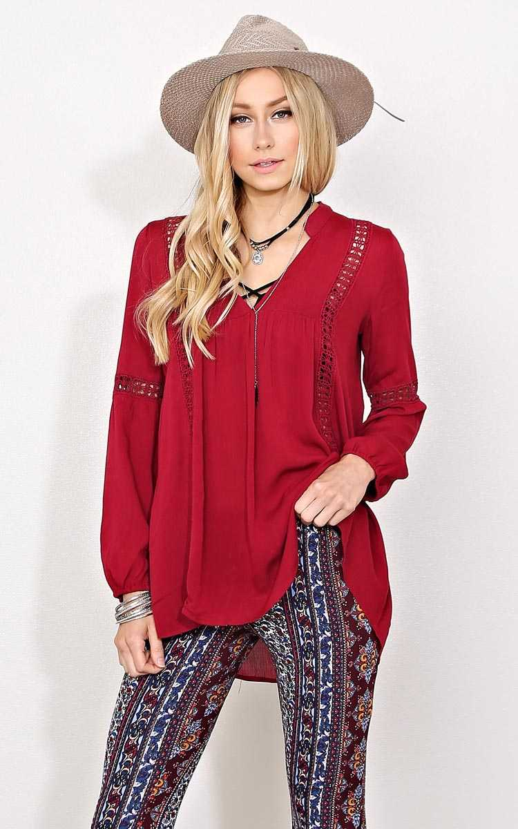 Charisma Woven Gauze Top - SML - Burgundy in Size Small by Styles For Less