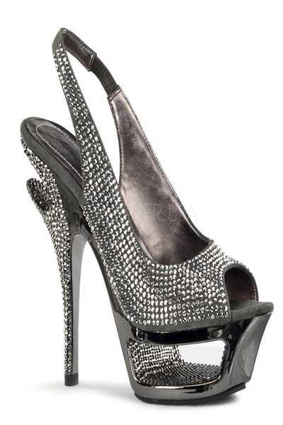 Dark Grey Suede Rhinestones Cut-Out Platform Sling-Back Sandal Heel