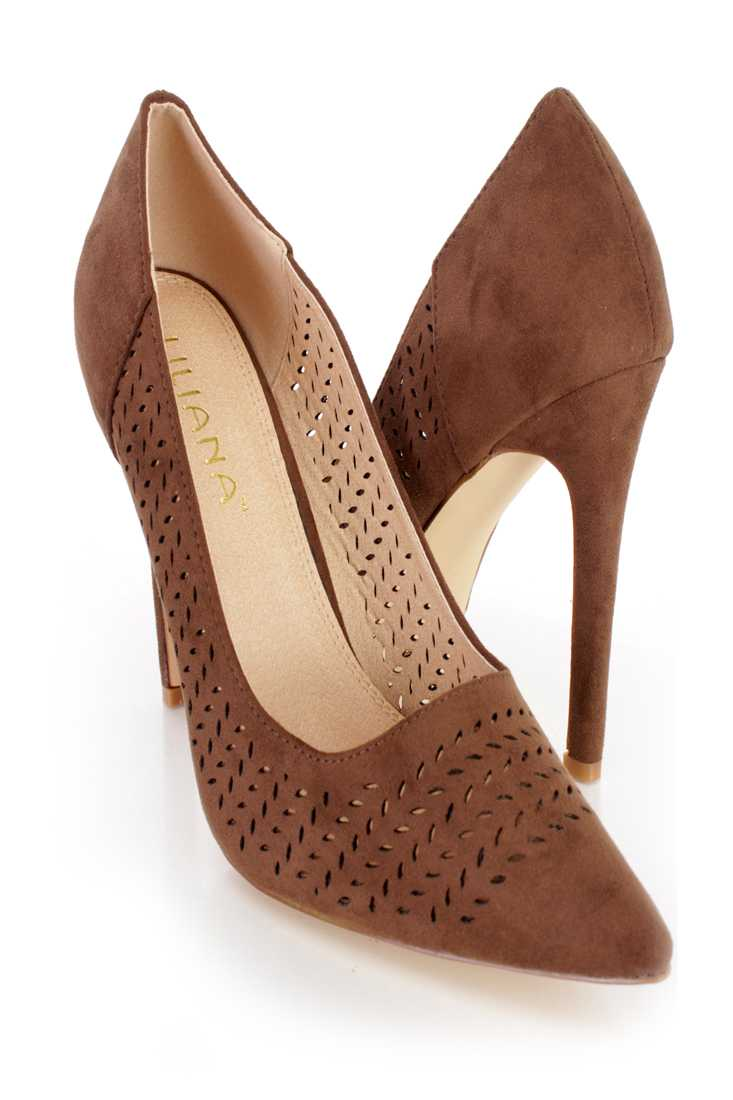 Brown Perforated Single Sole Pump High Heels Faux Suede