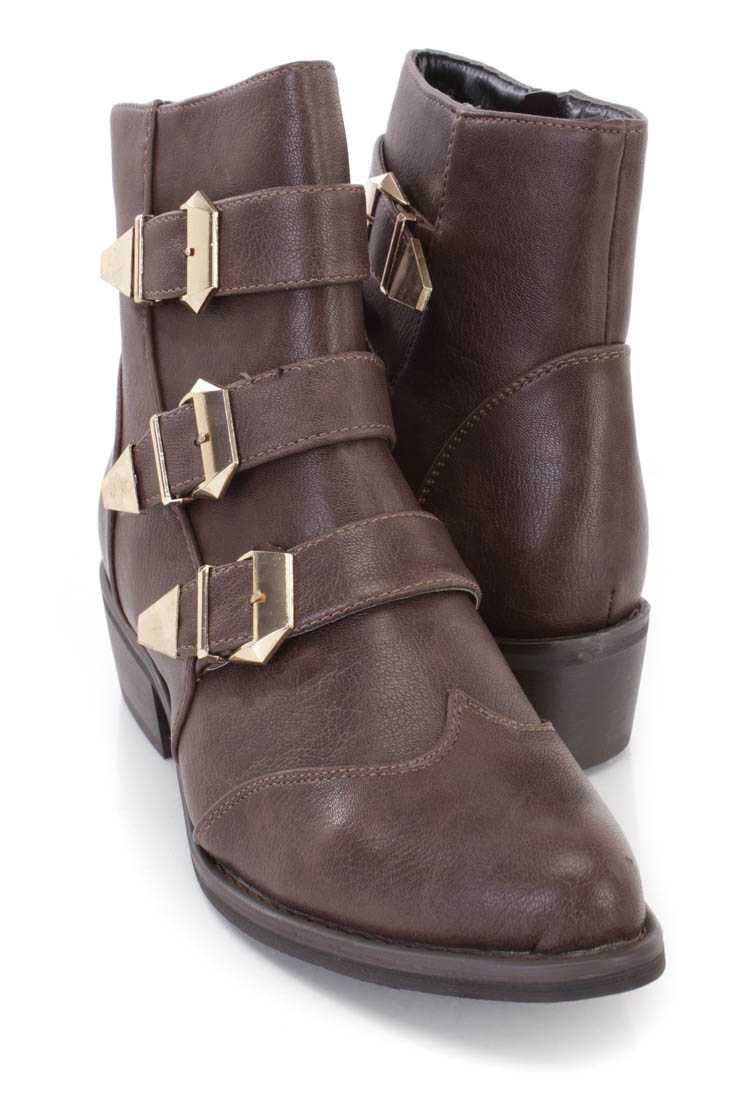Brown Buckle Strappy Ankle Booties Faux Leather