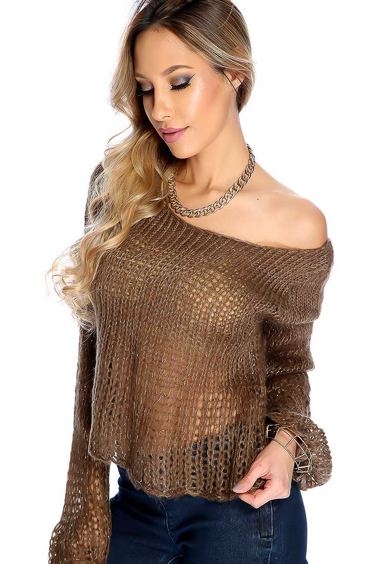 Coffee Long Sleeve Round Neckline Tinsel Knit Casual Sweater