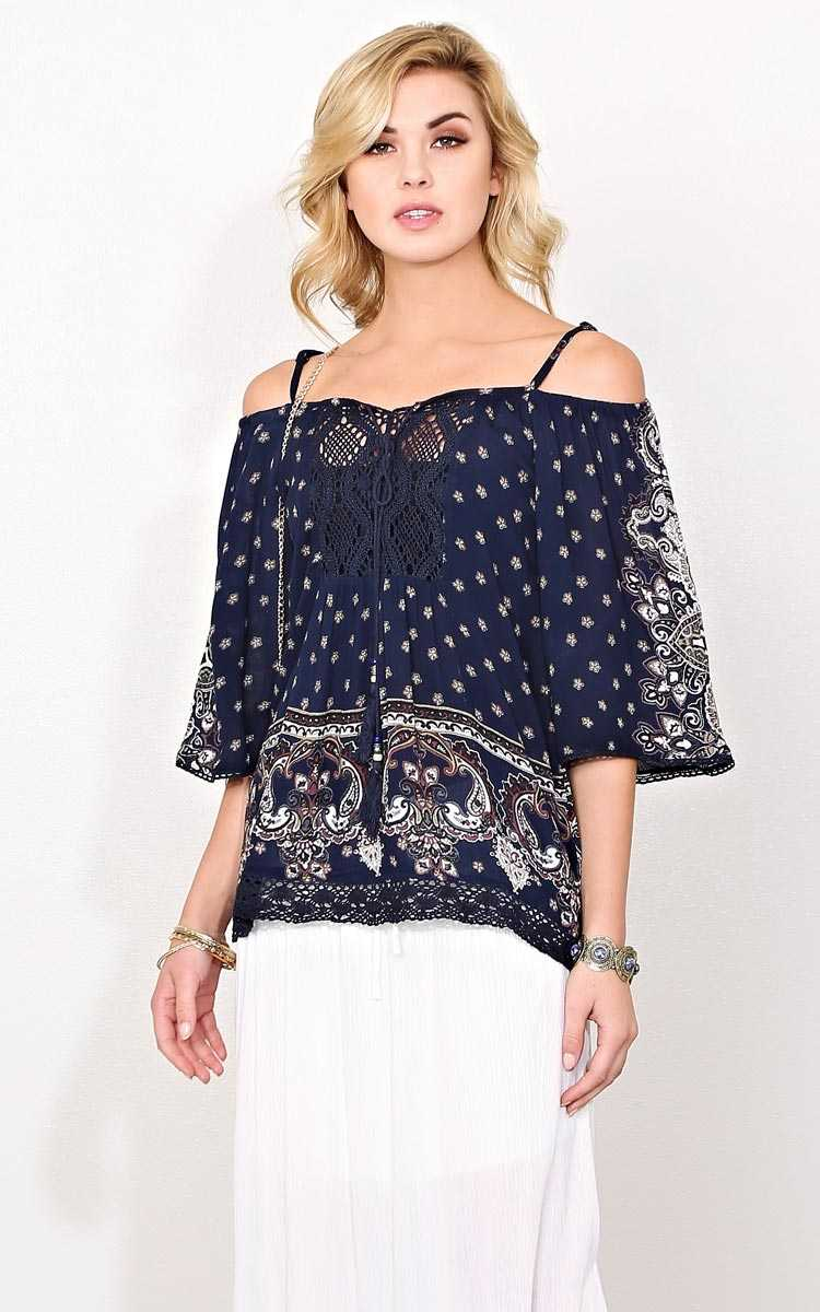 Floral Grace Woven Gauze Top - - Navy in Size by Styles For Less