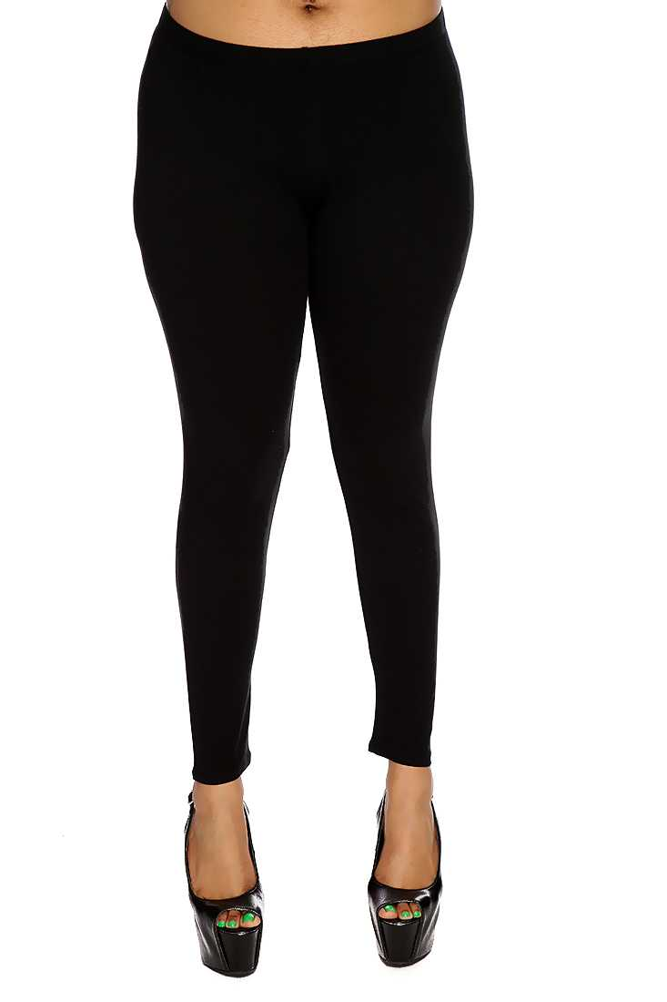 Black Simple Plus Size Casual Leggings