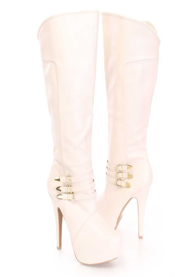 Stone Strappy Buckle Knee High Boots Faux Leather