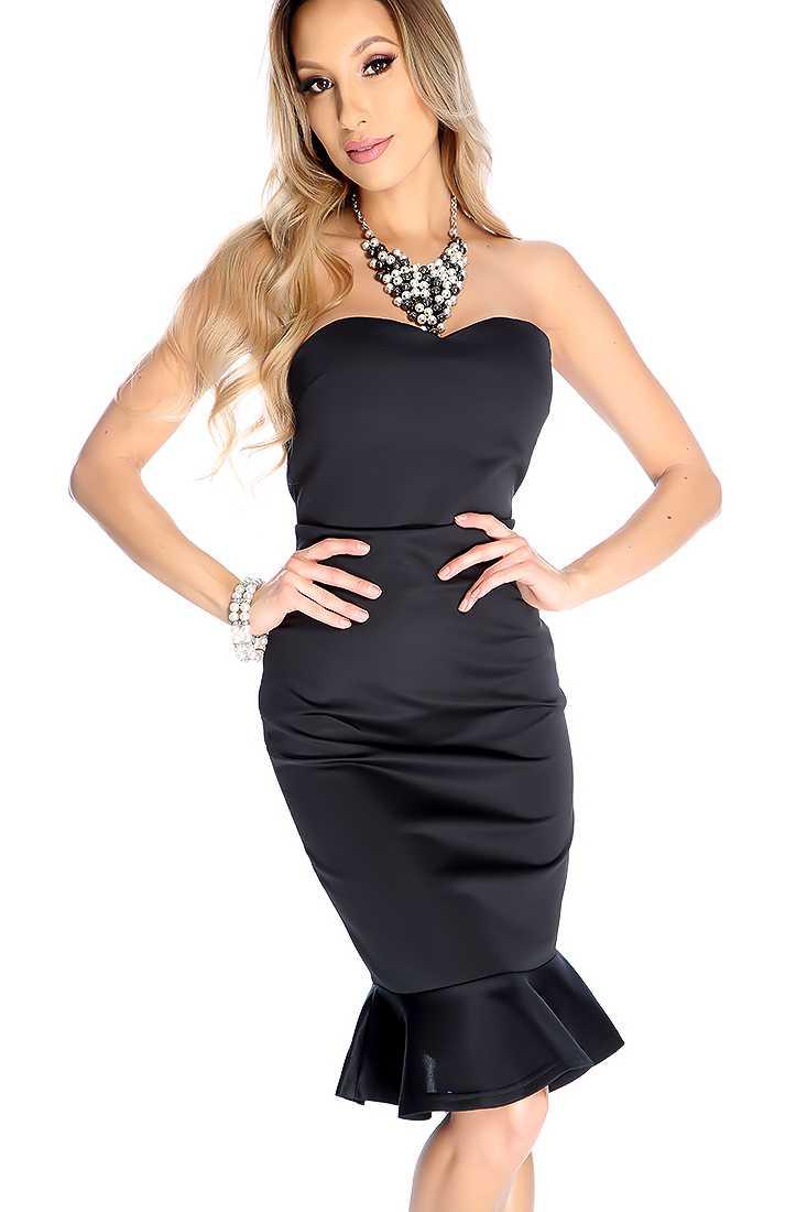 Sexy Black Ruffled Hem Strapless Party Dress