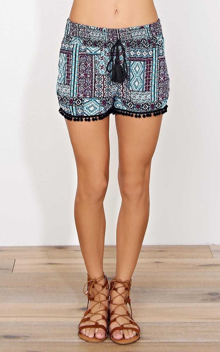 Aztec Sun Woven Gauze Shorts - - Teal Combo in Size by Styles For Less