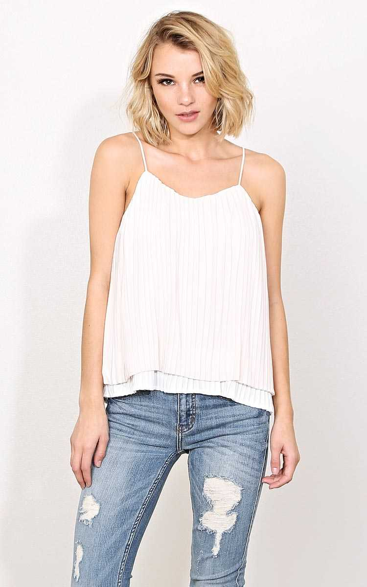 Pleat And Thank You Woven Tank - - Ivry/Natrl in Size by Styles For Less