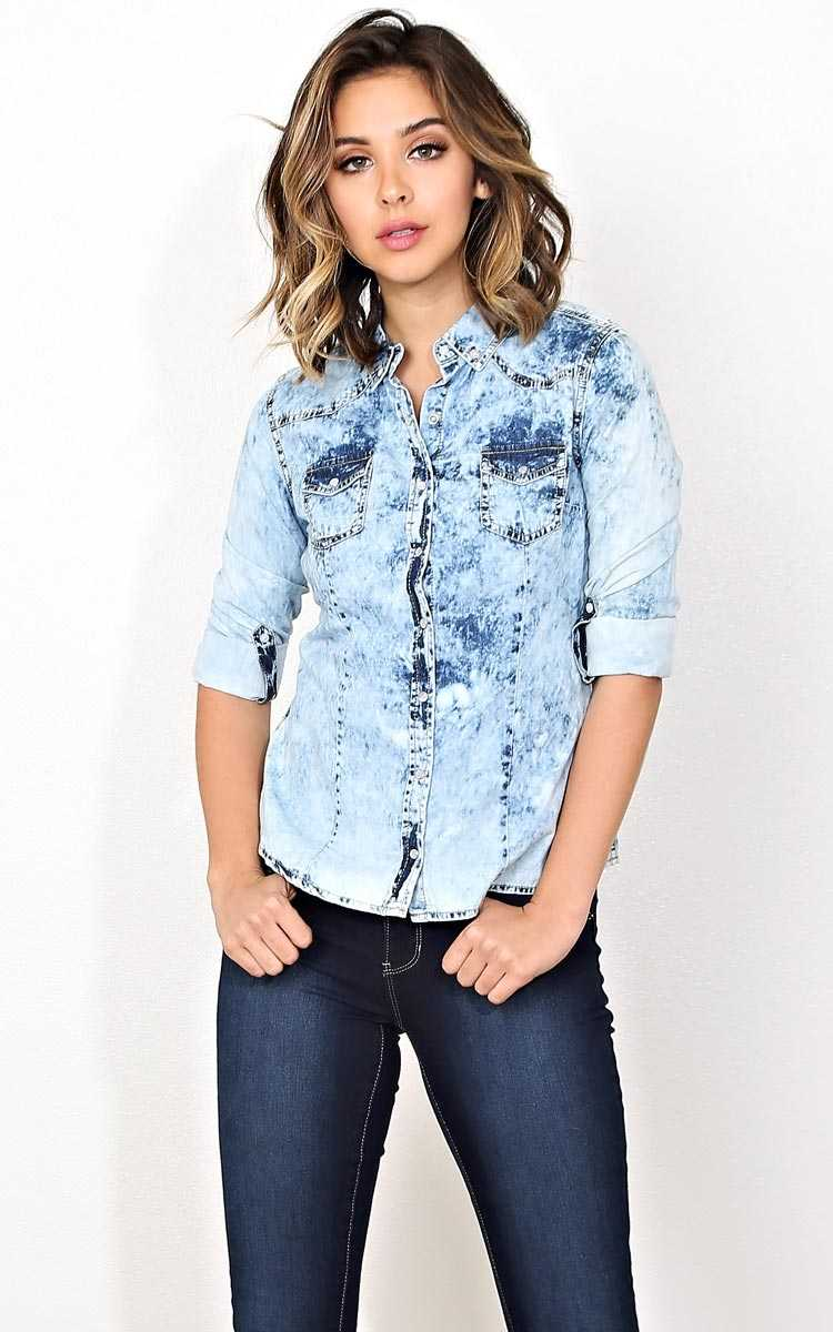 Venice Boardwalk Chambray Top - - in Size by Styles For Less